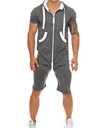 cheap -Men's Basic Dark Gray Romper Onesie, Solid Colored US32 / UK32 / EU40 US34 / UK34 / EU42 US36 / UK36 / EU44