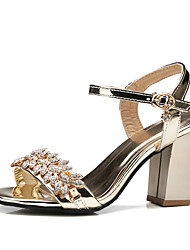 cheap -Women's Sandals Black Sandals Fall / Spring & Summer Chunky Heel Open Toe British Minimalism Party & Evening Office & Career Rhinestone PU Black / Pink / Gold