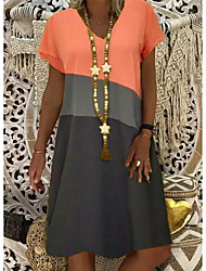 cheap -Women's Shift Dress Knee Length Dress - 3/4 Length Sleeve Color Block Summer V Neck Casual 2020 Yellow Orange Khaki S M L XL XXL XXXL XXXXL XXXXXL