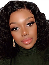 cheap -Human Hair Lace Front Wig Bob Short Bob Free Part style Brazilian Hair Curly Wavy Black Wig 130% Density with Baby Hair Natural Hairline For Black Women 100% Virgin 100% Hand Tied Women's Short Human
