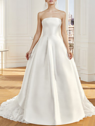 cheap -A-Line Wedding Dresses Strapless Sweep / Brush Train Satin Tulle Sleeveless Vintage Sexy Wedding Dress in Color Backless with Bow(s) Pleats 2020