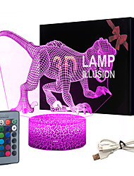 cheap -3D Dinosaur Night Light Led Illusion Lamp 16 Color Change Remote Control Decor Lights for Bed Living Room Kids Girls Boys Christmas AA Batteries Powered / USB 1pc