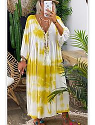 cheap -Women's Shift Dress Knee Length Dress - Long Sleeve Print Tie Dye Summer Casual Chinoiserie 2020 Black Purple Yellow Khaki S M L XL XXL XXXL