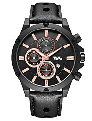 cheap -Men's Dress Watch Quartz Genuine Leather 30 m Water Resistant / Waterproof Calendar / date / day Day Date Analog Fashion Cool - Golden / Brown Black+Gloden Black One Year Battery Life