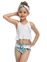 ieftine -Copii Copil Fete Activ Cute Stil Albastru & Alb Floral Geometric Bloc Culoare Fără Spate Bufantă În Cruce Fără manșon Costum Baie Alb