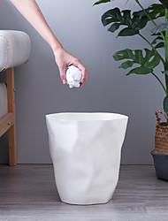 cheap -Pleated Trash Can Waste Bin Household Office Bathroom Plastic Paper Basket Garbage Can Waste Bin Storage Box Kitchen Accessories