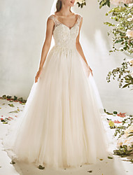 cheap -A-Line Wedding Dresses V Neck Sweep / Brush Train Lace Tulle Cap Sleeve Vintage Sexy Wedding Dress in Color Backless with Pleats Appliques 2020