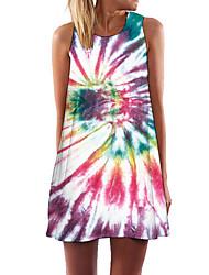Недорогие -Жен. Платье прямого кроя Мини-платье - Без рукавов Геометрический принт Лето На каждый день 2020 Цвет радуги S M L XL XXL
