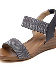 cheap -Women's Sandals Summer Wedge Heel Peep Toe Daily PU Black / Gold / Blue