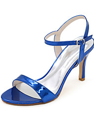 cheap -Women's Wedding Shoes Stiletto Heel Open Toe Minimalism Wedding Party & Evening Patent Leather Solid Colored Summer Black Blue Gold