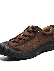 cheap -Men's Fall Casual / British Daily Outdoor Trainers / Athletic Shoes Hiking Shoes / Walking Shoes Nappa Leather Breathable Non-slipping Shock Absorbing Light Brown / Dark Brown / Black 3D