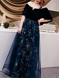 cheap -A-Line Plus Size Blue Wedding Guest Prom Dress Illusion Neck Half Sleeve Floor Length Tulle with Embroidery 2020