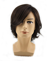 cheap -Synthetic Wig Curly Asymmetrical Wig Medium Length Medium Brown Synthetic Hair 12 inch Men's Party Youth Black