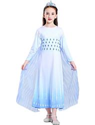 cheap -Princess Elsa Dress Outfits Flower Girl Dress Girls' Movie Cosplay A-Line Slip Vacation Dress White Dress Children's Day Masquerade Polyester