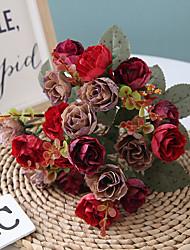 cheap -30CM 7 Fork 21 Head Diamond Rose European Artificial Simulation Decoration Flower Wedding 1 Bunch 33cm