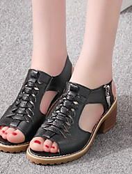 cheap -Women's Sandals Flat Sandals Summer Chunky Heel Peep Toe Daily PU White / Black / Beige