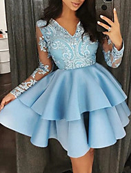 cheap -A-Line Sexy Blue Homecoming Cocktail Party Dress V Neck Long Sleeve Short / Mini Satin with Ruffles Tier 2020