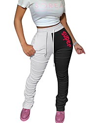 cheap -Women's Basic Slim Chinos Pants - Print White Blushing Pink Gray S / M / L