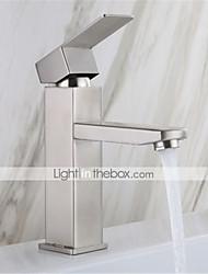 olcso -rozsdamentes acél mosdó csaptelep hideg és meleg húzással négyzet alakú egy lyukú mosdó csaptelep