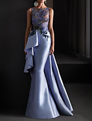 cheap -Mermaid / Trumpet Elegant Floral Engagement Formal Evening Dress Jewel Neck Sleeveless Floor Length Lace Satin with Pleats Appliques 2020