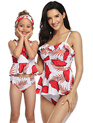 cheap -2 Piece Mommy and Me Active Sweet Floral Color Block Graphic Backless Ruffle Print Sleeveless Short Above Knee Swimwear Red