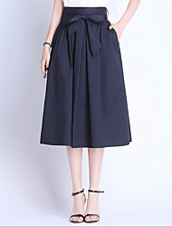 cheap -Women's Daily Wear Basic A Line Skirts - Solid Colored Patchwork Black Navy Blue M L XL