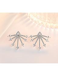 cheap -Women's Cubic Zirconia Stud Earrings Earrings Classic Fashion Leaf Punk Trendy Romantic Sweet Cute Imitation Pearl Earrings Jewelry Silver For Gift Date Street Birthday Festival 1 Pair