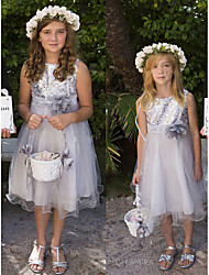 cheap -A-Line Knee Length Wedding / Party Flower Girl Dresses - Tulle / Sequined Sleeveless Jewel Neck with Appliques / Paillette