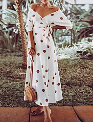 cheap -Women's Maxi Sheath Dress - Half Sleeve Print Summer V Neck Elegant Slim 2020 White S M L XL