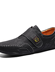 cheap -Men's Spring & Summer Casual Daily Loafers & Slip-Ons PU Non-slipping Black / Khaki / Brown