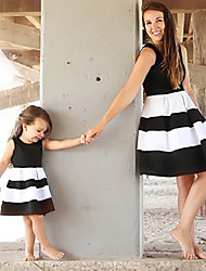 cheap -Mommy and Me Boho Sweet Black & White Striped Color Block Print Sleeveless Knee-length Dress Blushing Pink