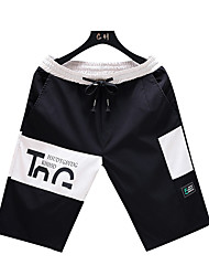cheap -Men's Active Shorts Pants - Letter White Black Blue US38 / UK38 / EU46 / US40 / UK40 / EU48 / US42 / UK42 / EU50