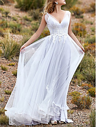 cheap -A-Line Wedding Dresses V Neck Sweep / Brush Train Lace Tulle Sleeveless Beach Vintage Sexy Wedding Dress in Color See-Through Backless with Ruffles Embroidery Appliques 2021