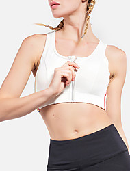 cheap -Women's Young Girl Sports Bra High Support Zipper Removable Pad Fashion White Black Elastane Yoga Running Fitness Top Sport Activewear Breathable High Impact Quick Dry Comfortable Freedom Stretchy