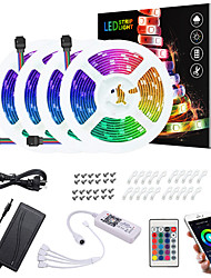 cheap -20M(4x5M) LED Light Strips RGB Tiktok Lights App Intelligent Control Bluetooth Music Sync Waterproof Flexible 5050 SMD 600 LEDs IR 24 Key Bluetooth Controller with Installation Package 12V 8A Adap