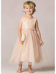cheap -A-Line Ankle Length Wedding / Party Flower Girl Dresses - Tulle / Sequined Sleeveless Jewel Neck with Ruching