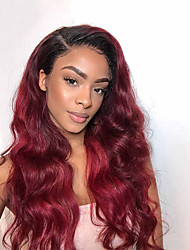 cheap -Remy Human Hair Lace Front Wig Free Part style Indian Hair Body Wave Red Wig 150% Density with Baby Hair Color Gradient Natural Hairline with Clip Women's Long Human Hair Lace Wig Premierwigs