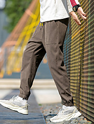 cheap -Men's Sporty Street chic Daily Weekend Slim Cotton Chinos Tactical Cargo Pants - Plaid / Checkered Solid Colored Drawstring Breathable Spring Summer Black Army Green Fuchsia US32 / UK32 / EU40 / US34