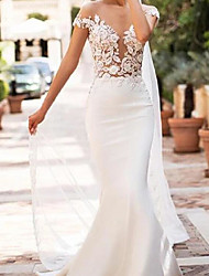 cheap -Mermaid / Trumpet Wedding Dresses Jewel Neck Court Train Lace Satin Cap Sleeve Sexy See-Through with Embroidery 2021