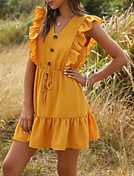 cheap -Women's Mini Shirt Dress - Sleeveless Solid Color Summer V Neck Casual 2020 Yellow Green S M L XL