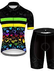Недорогие -21Grams Муж. С короткими рукавами Велокофты и велошорты Полиэстер Черный / желтый Пэчворк С сердцем Велоспорт Наборы одежды / Эластичная / Дышащий / Горные велосипеды / Шоссейные велосипеды