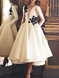 cheap -Ball Gown Luxurious Vintage Engagement Prom Dress Illusion Neck Long Sleeve Ankle Length Satin with Appliques 2021