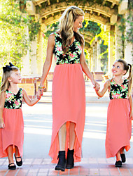 cheap -Mommy and Me Vintage Sweet Rose Floral Color Block Print Sleeveless Midi Dress Blushing Pink