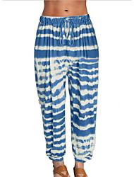 abordables -Femme Basique Chino Pantalon - Teinture par Nouage Vin Bleu Violet S M L