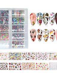 Недорогие -10 шт. Рождественские украшения для ногтей микс красочные передачи наклейки для ногтей фольги снежный цветок лось подарок санта клейкая бумага