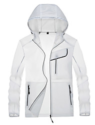 cheap -Men's Hiking Skin Jacket Hiking Jacket Summer Outdoor Waterproof Windproof Sunscreen Breathable Jacket Hoodie Top Spandex Running Hunting Fishing White / Grey / Blue / Quick Dry / Quick Dry