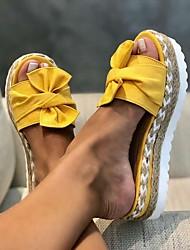 cheap -Women's Slippers & Flip-Flops Outdoor Slippers Flat Heel Open Toe Daily PU Summer White Black Yellow