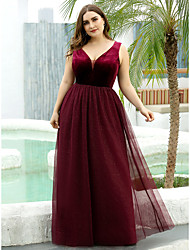 cheap -A-Line Mother of the Bride Dress Plus Size Plunging Neck Floor Length Tulle Velvet Sleeveless with Pleats 2020