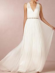 cheap -A-Line Wedding Dresses V Neck Sweep / Brush Train Chiffon Over Satin Sleeveless Simple Beach Elegant with Sashes / Ribbons 2021