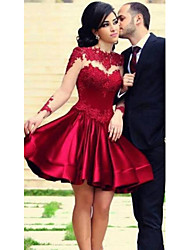 cheap -A-Line Hot Red Cocktail Party Prom Dress Jewel Neck Long Sleeve Short / Mini Lace Stretch Satin with Pleats Appliques 2020